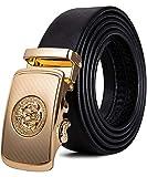 Cinturón de cuero para hombre, con hebilla de trinquete automático con impresión animal en 3D, cinturón negro de diseño sin agujeros para vaqueros, en caja de regalo Negro Un León Negro Oro Large
