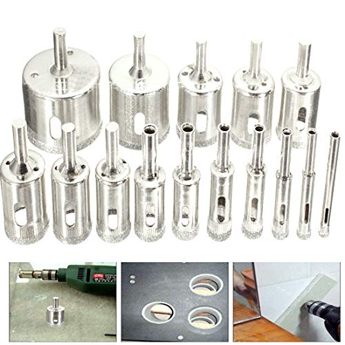BAIJIAXIUSHANG-TIES Metalworking 15pcs Diamond Coated Drill Bit Set Tile Marble Glass Ceramic Hole Saw Drilling Bits for Power Tools 6mm-50mm Drill