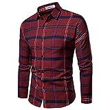 Camisa De Algodón con Botones para Hombres Camisas De Vestir Casuales Camisa De Manga Larga con Ajuste Regular Camisa A Cuadros para Hombres,Rojo,L