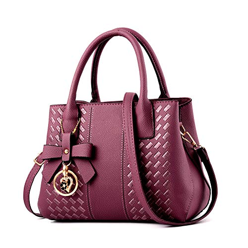 Handbags for Women Fashion Ladies Purses PU Leather Satchel Shoulder Tote Bags (Purple1)