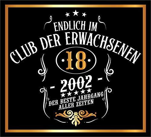 RAHMENLOS 3 St. Aufkleber Original Design: Selbstklebendes Flaschen-Etikett zum 18. Geburtstag: Mitglied im Club der Erwachsenen