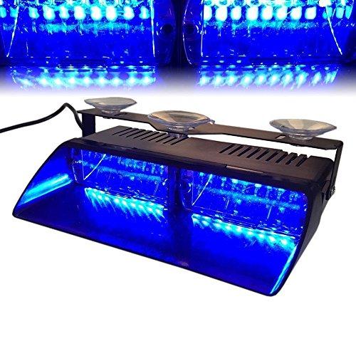 Viktion 12V 16 LEDs Feux de Pénétration Lumière Stroboscopique Eclairage Clignotant avec 18 Modes pour Voiture Camion véhicule SUV (Bleu)