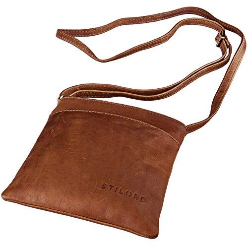 STILORD 'Lana' kleine Umhängetasche Damen 16 x 18 x 2 cm Ausgehtasche Schultertasche Handtasche echtes Büffel Leder Vintage Design Größe S, Farbe:Cognac - braun
