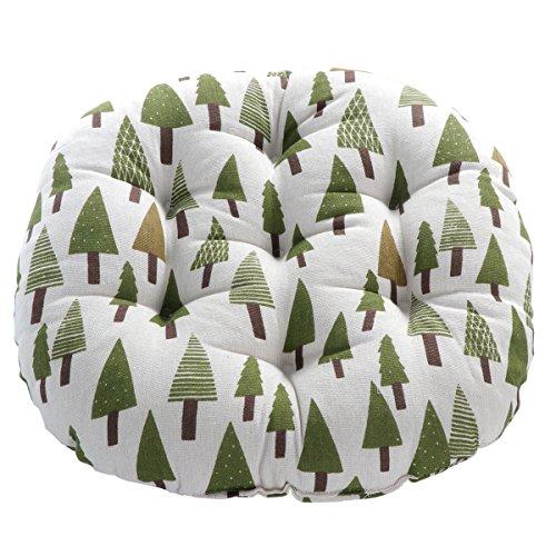 WINOMO Runde Boden Kissen Kissen Baumwolle Leinen Sitzkissen Yoga Fenster Tatami Home Office Pad (Bäume Muster)