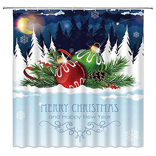 EdCott Feliz Navidad Cortina Ducha Feliz año Nuevo Luna Nieve Bolas Pino Bebé Niños Patrón Blanco Azul Cortinas baño Decoración Tela poliéster Secado rápido 72X72 Pulgadas Incluir Ganchos