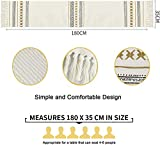 Sxuan Tischläufer 180x35cm, Waschbar Tischdekoration aus Baumwollgewebe mit Quasten für Esszimmer Outdoor Urlaub Party Dekoration, Beige - 3