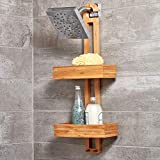 iDesign Formbu Bamboo Shower Caddy for Shampoo, Conditioner, and Soap with Hooks for Razors, Towels, Loofahs, and More, 11.05
