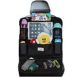 SURDOCA Autositz-Organizer – 4th Generation verbesserter Auto-Organizer Rücksitz für bis zu 10,5 iPad, 9 Taschen, Kinderspielzeug-Aufbewahrung, wasserdichter Rücksitzschutz für Kinder,schwarz,1 Stück
