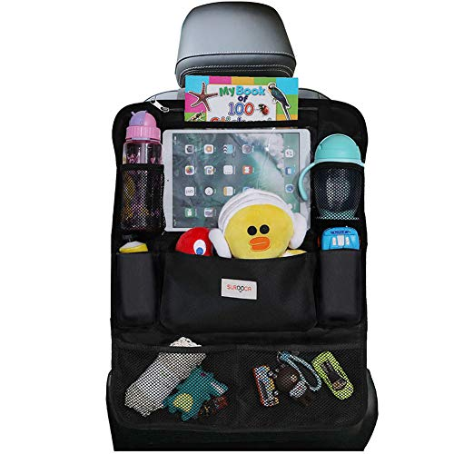 Car Organiser Car Seat Organiser - SURDOCA 4th Generation Enhanced Car Organiser Back Seat for up to 10.5 iPad, 9 Pockets, Kids Toy Storage, Water Proof Back Seat Protector for Kids, Black ,1pc