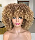 Curly Afro Wigs for Black Women Short Kinky Curly Wigs with Bangs 14inch Ombre Blonde Afro Hair Synthetic Heat Resistant Wigs