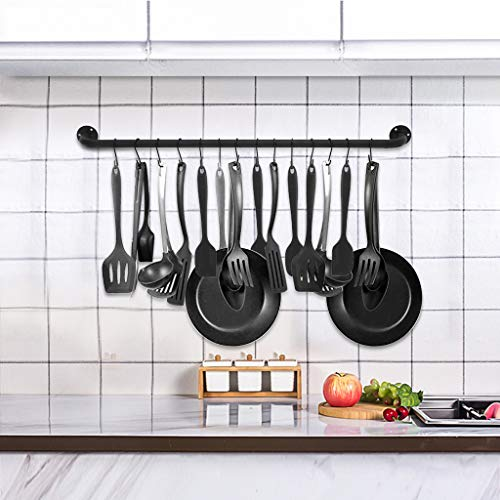 39.4'' Wall Mounted Hanging Pan Pot Bar Rack Steel Lid Holder Detachable Rail Kitchen Utensil Organizer with 14 S Hooks Black,Ship from US