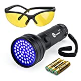 TaoTronics TT-FL002 Black Light, 51 LEDs Uv Blacklight Flashlights Detector for Dry Pets Urine & Stains & Bed Bug with Free Uv Sunglasses & 3 Free AAA Batteries, Purple