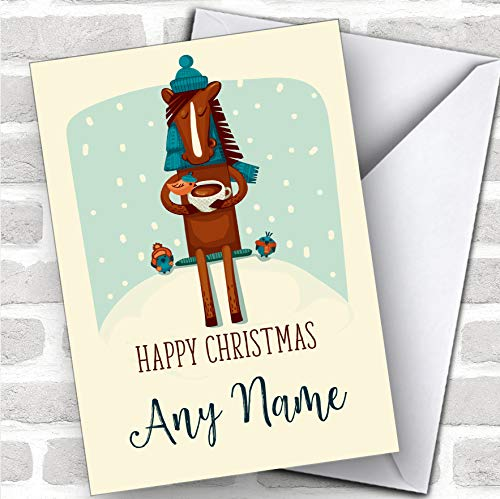 Horse Drinking Coco Modern op maat gemaakte kerstwenskaart