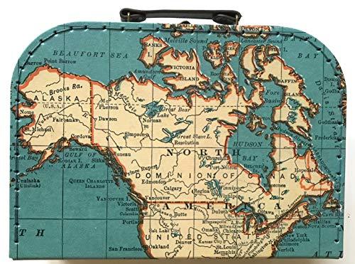 Sass and Belle Koffer/Kinderkoffer/Puppenkoffer/Aufbewahrungsbox. Pappkoffer, 3 Verschiedene Größen. (Vintage Map, M/Mittel)