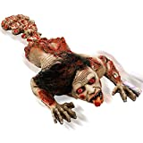 "Halloween Haunters 45"" Animated Latex Crawling Human Zombie Torso Prop Decoration - Realistic Animatronic Evil Demon Moving Rubber Moaning Tortured Dead Man Bloody Corpse - Haunted House Entryway"