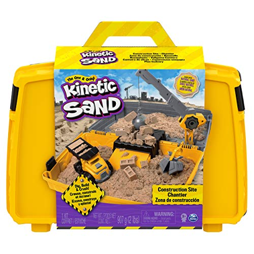 Kinetic Sand Juego de arenero Plegable para Sitio de construcción con vehículo y Arena cinética de 907 g, para niños a Partir de 3 años