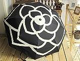 Mdsfe Paraguas automático de Camelia Mujer, para Hombre, Protector Solar Plegable con protección UV, Paraguas Transparente - Negro, a2