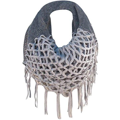 TININNA Hiver Chaud Crochet Tricoté Infinity Boucle Glands Doux Châle écharpe Wrap écharpes pour Les Femmes Gris