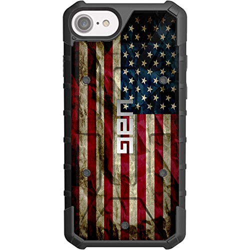 Ego Tactical Limited Edition - Authentic UAG Urban Armor Gear Case for Apple iPhone SE (2nd Gen-2020), 8, 7, 6s, 6 (Standard 4.7') - Old Glory, Red White Blue Weathered US Flag