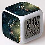 SXWY Transformers digitaler Wecker, Bunte Lichter Stimmungswecker quadratische Uhr verfügbar USB-Aufladung geeignet für