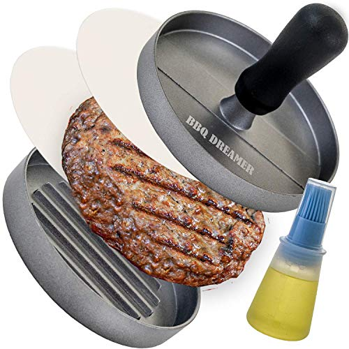BBQ DREAMER Burger Press Patty Maker with 100 Patty Papers amp Bottle Basting Brush amp Comfortable Plastic Handle Hamburger Mold Press for Barbecue and Griddle