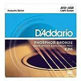 D'Addario EJ16x5 (5 sets), Acous Guit Strings, Phos/Brnz Rnd Wnd, Light (.012-.053).
