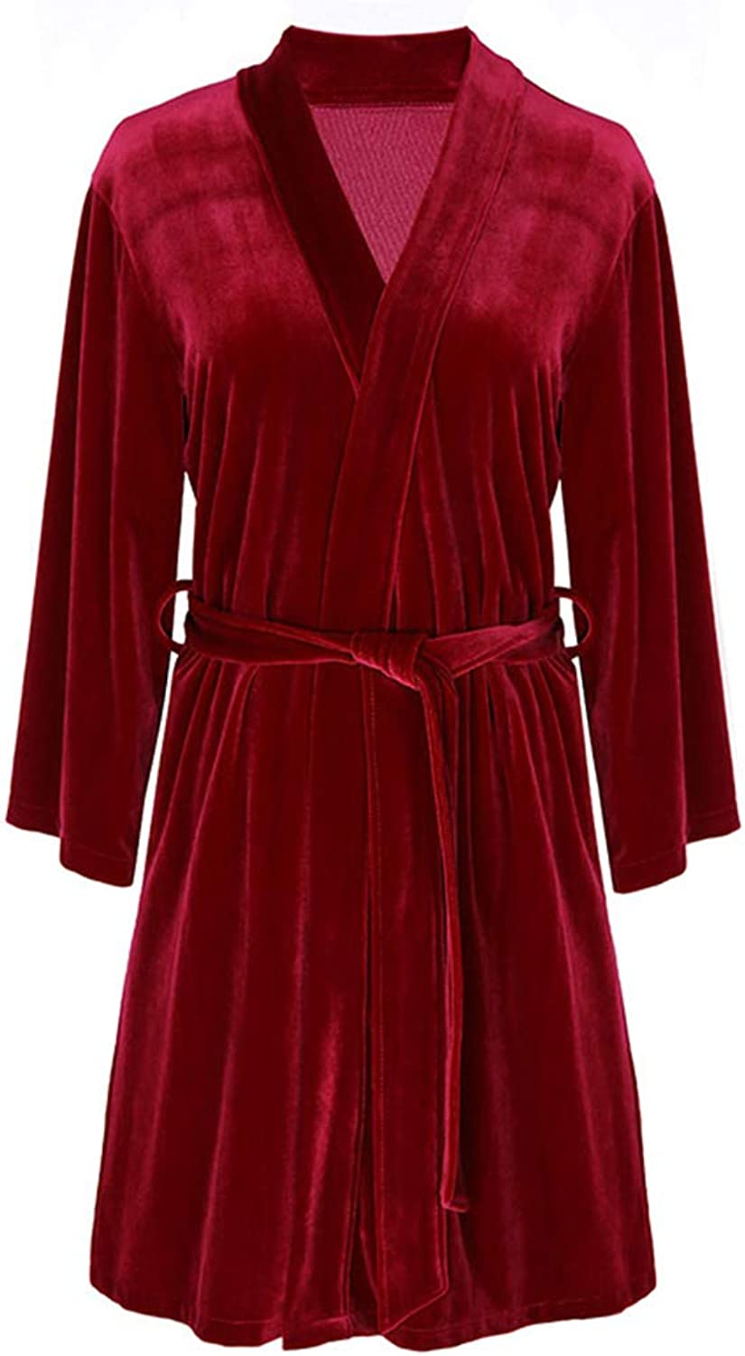 Bathrobe Shawl Towel Velvet Gown Luxury Nightgown Sexy Pajamas Bath Toga Strong Water Absorption   Red   Bride (Size   XL)