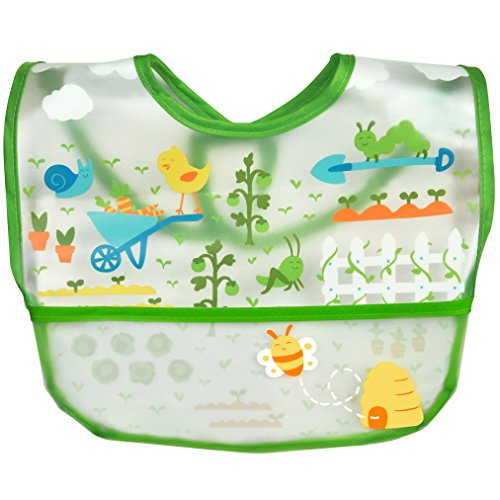 Price comparison product image green sprouts Wipe-Off Bib (Single) / Waterproof Protection for Messy Eaters / Flip-Pocket Easily Catches Stray Food,  Extra-Long Coverage to Protect Clothes,  Adjustable Closure