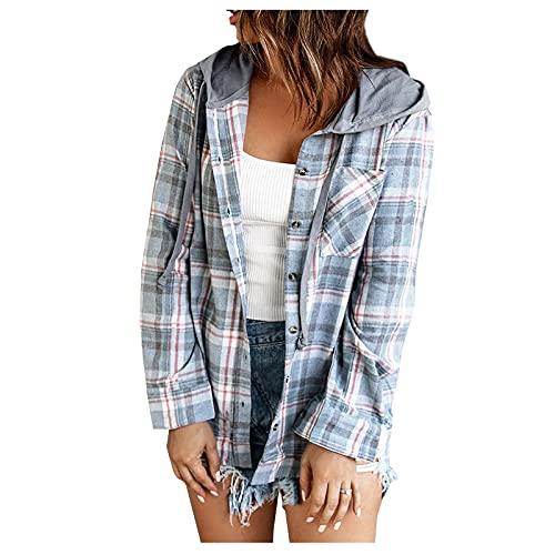 QEERT Suéter grande para mujer a cuadros, bloque de color, manga larga, informal, blusa, abrigo, camisa, chaqueta, sudadera, sudadera., azul celeste, S
