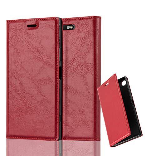 Cadorabo Funda Libro para Sony Xperia XZ1 en Rojo Manzana - Cubierta Proteccíon con Cierre Magnético, Tarjetero y Función de Suporte - Etui Case Cover Carcasa