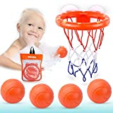 MARPPY Bath Toys, Bathtub Basketball Hoop for Toddlers Kids, Boys and Girls with 4 Soft Balls Set & Strong Suction Cup, Bathroom Slam Dunk & Fun Shooting Game, Gift for Toddler Boy or Girl