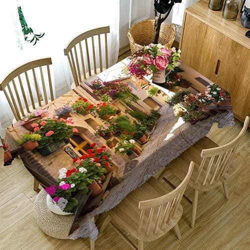 Familienleben Ausrüstung Tischdecke 3D Blumenhaus Tischdecke Schönes Gassenmuster Wasserdicht verdicken rechteckige und runde Tischdecke für Hochzeit (Farbe: Stil E Spezifikation: Runder Durchmesse