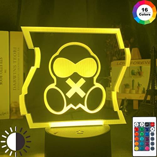 Mute R6 Logo Cool Game Event Prize Night Light 3D LED Lámpara de mesa niños regalo de cumpleaños decoración de la habitación junto a la cama