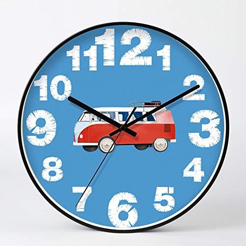 LG Snow Imagen De Coche Rojo Fondo Azul Borde Negro Reloj De Pared Minimalista De Vidrio Y Metal Relojes Electrónicos Personalidad Creativa Campana Muda del Tamaño De 35cm * 35cm * 4.5cm