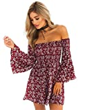 ONEYIM Women's Dress Summer Floral Long Sleeve Off Shoulder Casual Mini Dresses(Maroon, Small)