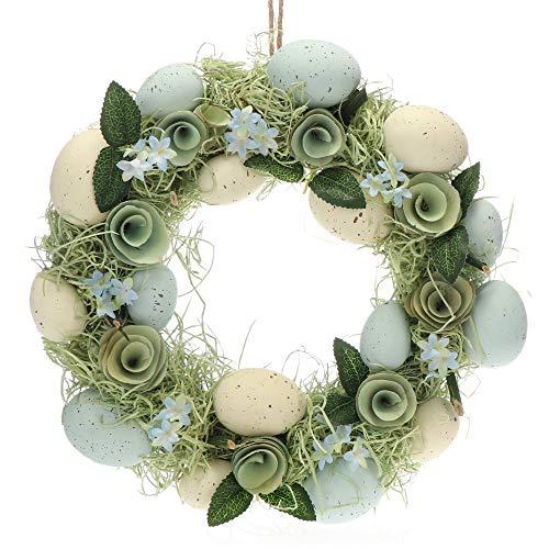 com-four® Couronne de Pâques avec Fleurs en Bois et œufs, Couronne de Table décorative, Couronne de Porte Faite à la Main avec Cintre