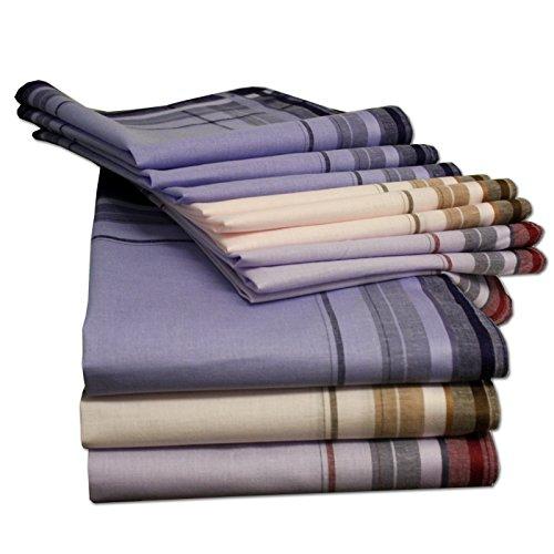 JEMIDI Stofftaschentücher Herren und Damen Baumwolle 12er Pack Stoff Taschentücher 100% Baumwolle Herrentaschentücher Stofftaschentuch in unterschiedlichen Designs, Design 3, 40cm x 40cm
