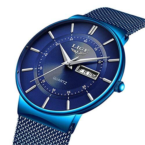 LIGE Herren Uhren Minimalistischen Wasserdicht Männer Armbanduhr Mode Elegant Geschäft Blau Quarz Herrenuhr für Mann mit Edelstahl Mesh Minimalistische Quartz Edelstahl Armbanduhren