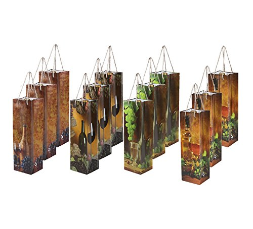 Wine Gift Bags - 12-Pack Wine Bags for Anniversary, Birthday, All Occasion - Traditional Italian Theme, Spirits and Wine Bottle Gift Bags with Handles