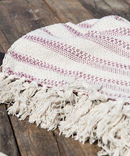 IB Laursen - Plaid, Decke - Creme mit rosa Streifen - Baumwolle - 130 x 160 cm
