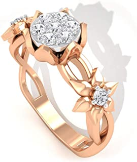 Prism Jewel 0.39Ct Natural Brown Diamond Flower Cluster Style Ring