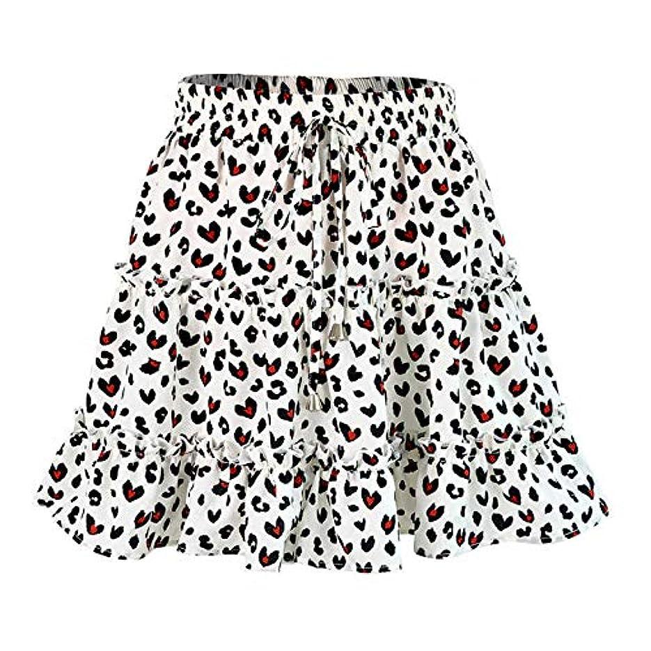 フラグラント情報便益YMKCBB 短いスカート 女性のファッションハイウエストフリルスカートブロークンフラワーハーフレングススカートプリントビーチショートミニスカートS 1