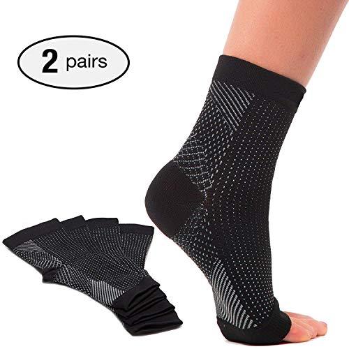 2 pares de calcetines de fascitis plantar con soporte de arco, mangas de compresión para el cuidado de los pies, alivia la hinchazón y los talones, soporte de tobillera para aliviar el dolor r
