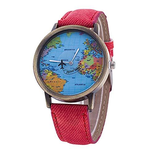 Collectsound - Orologio da polso analogico al quarzo, con mappe del mondo, cinturino in tessuto denim, regalo per studenti, colore: rosso