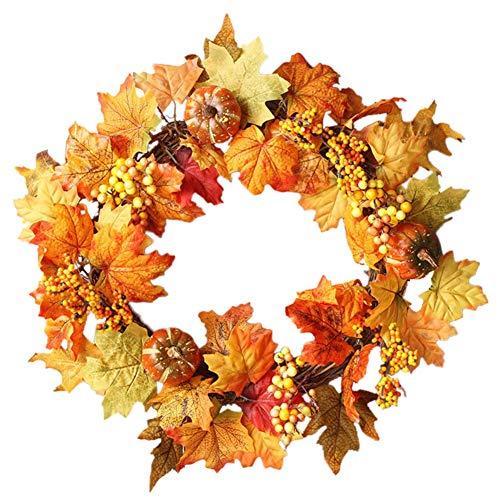 TEEKOO 20-Zoll-künstlicher Ahorn-Blatt-Kranz, mit Kürbis und Beeren-Fall-Ernte-Erntedank-Halloween-Feiertags-Haustür-Wandbehang für Inneneinrichtung