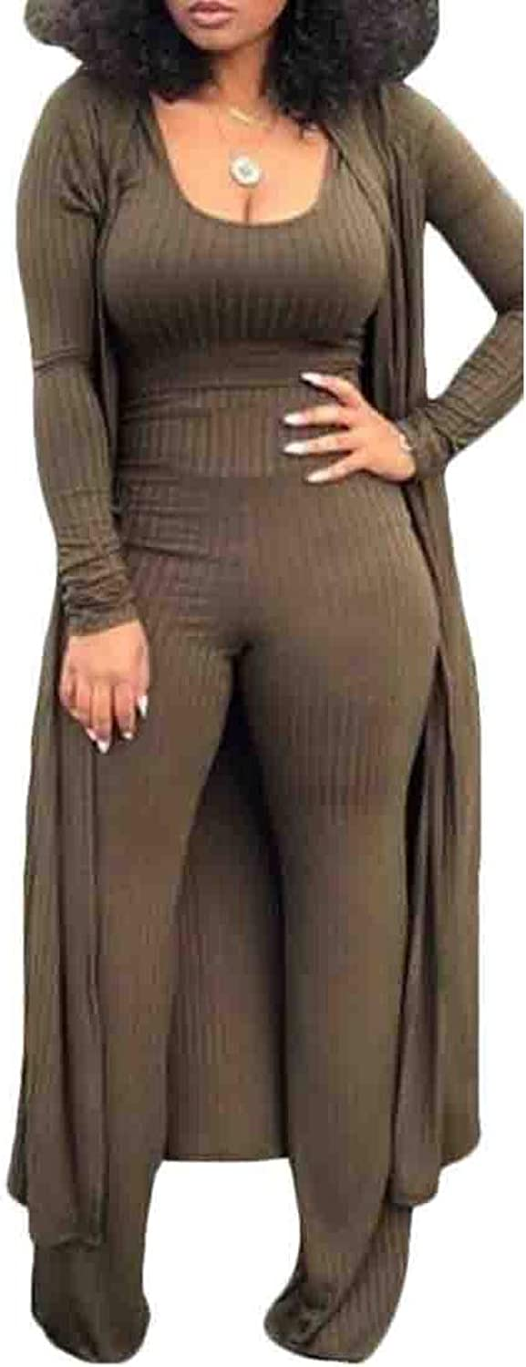 UNINUKOO Unko Women's 3 Piece Top and Flare Long Pants Cover up Cardigan Tracksuit
