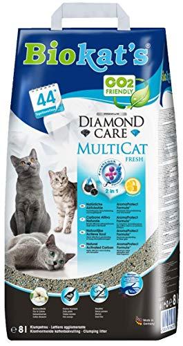 Biokat's Diamond Care Multicat Fresh kattenbakje met geur, stofvrije klompstrooi met actieve kool en katoenen bloesemgeur, 1 papieren zak, Fresh - met geur, 1 x 8 L