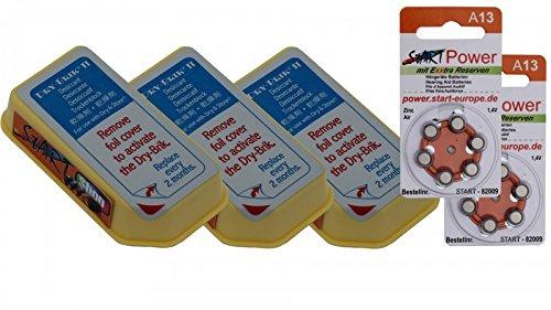 82023-StartPower Dry-BRIK II (3 Stück). Trockenmittel. Trockensteine inkl Hörgerätebatterien A13 (12 Stück)