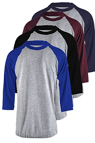 TOP LEGGING Men's 4 Pack Regular Fit 3/4 Sleeve Baseball T-Shirt -Cotton Raglan Jersey S-5XL - 2XL