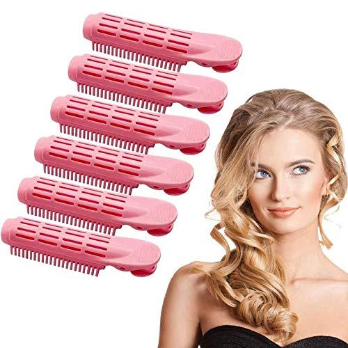 6 Piezas Clips para la Raíz del Cabello, Rulos para el Pelo Voluminización Esponjoso Natural Herramienta de Peinado Rizado Rodillo de Salón para Mujeres, Damas y Niñas (Rosado)